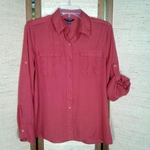 Banana Republic button down blouse Red PM